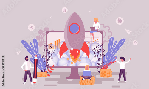 Cuadros en Lienzo Flat web page design template of business startup homepage or header decorated people character for website and mobile website development