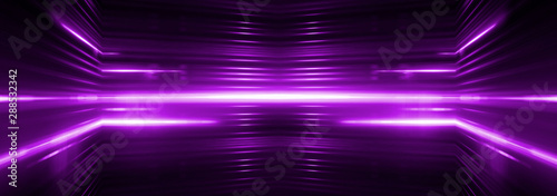 Empty stage. Violet neon, abstract blue background. Rays of searchlights, light, abstract tunnel, corridor.