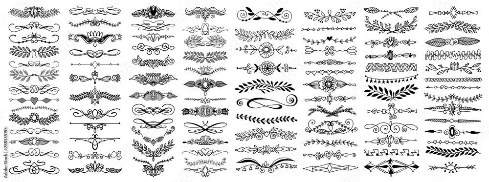 Fototapety, obrazy: doodle sketch hand drawing divider, leaves and flourish design