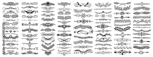 doodle sketch hand drawing divider, leaves and flourish design - 288535195