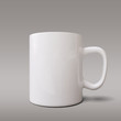 Realistic white cup isolated on grey background. Vector template for Mock Up. Vector illustration - Vector