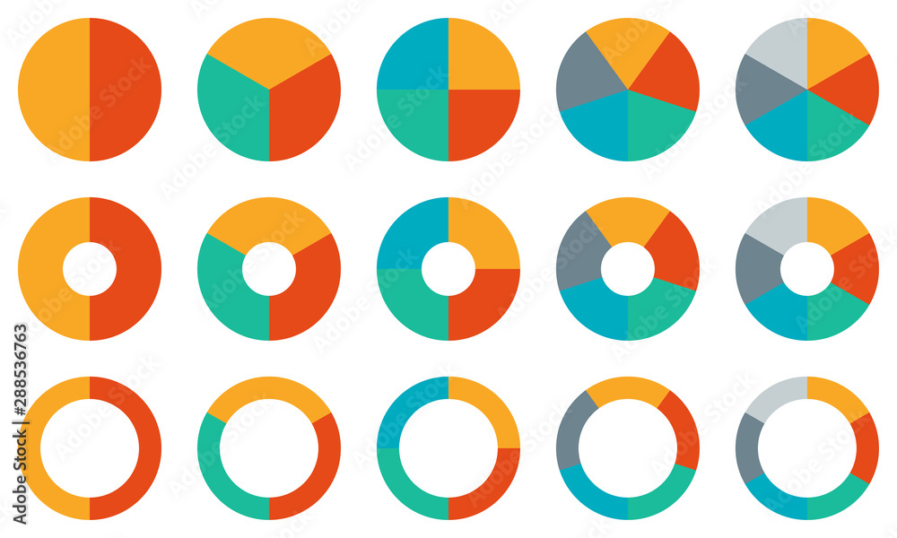 Fototapeta Pie chart set. Colorful diagram collection with 2,3,4,5,6 sections or steps. Circle icons for infographic, UI, web design, business presentation. Vector illustration.