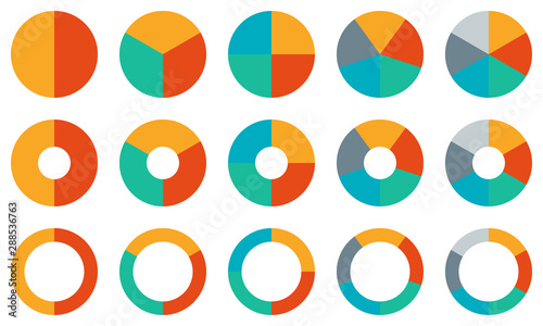 Pie chart set Wallpaper Mural