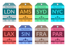 Luggage Tag Set. Travel And Baggage Stickers. Labels For Bags In The Airport. Vector Illustration.