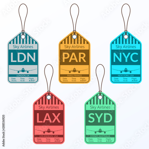 Luggage tag set. Travel and baggage stickers. Labels for suitcases in the Airport. Vector illustration.
