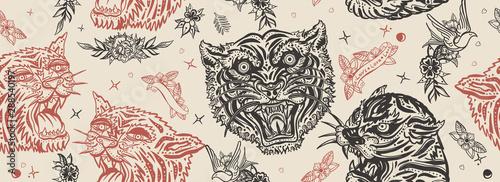 Fényképezés  Tigers seamless pattern