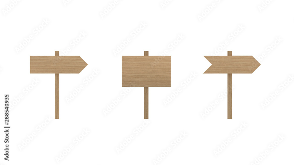 Fototapeta Wood sign boards set isolated on white background with clipping path path. Wood road signs.