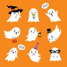 Halloween Set Of Cute Funny Gh...