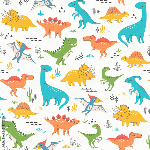 Seamless pattern of cute colorful dinosaurs with floral and geometric elements