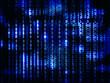 Blue glowing binay code