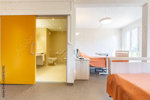 Fotografia, Obraz Chambre double de maison de retraite lumineuse et spacieuse avec salle de bain