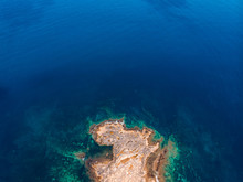 Top View Azure Blue Sea With W...
