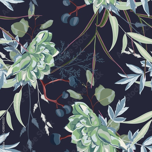 Herbs and succulent, herbs and flowers seamless pattern. Blue background. - 288545553