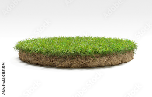 realistic 3D rendering circle cutaway terrain floor with rock isolated, 3D Illus Slika na platnu