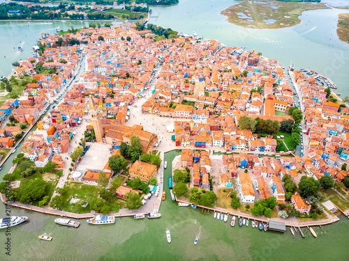 Aerial view of Burano island in Venice lagoon, Italy Canvas