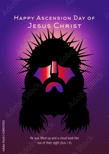 Ascention of Jesus Christ, vector Illustration Wallpaper Mural