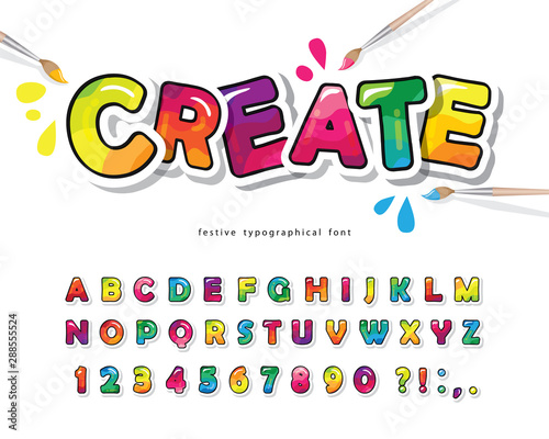 Cartoon colorful font for kids Fototapet