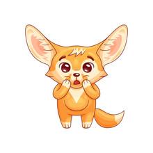 Amazed Fennec Fox With Paws On...