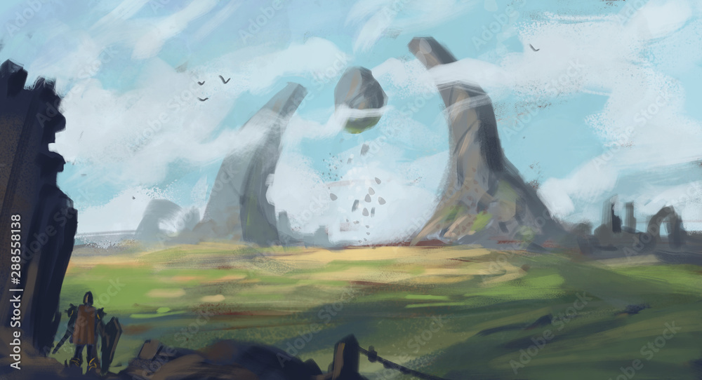epic landscape painting of two spires with floating rocks and dark foreground elements - digital fantasy painting