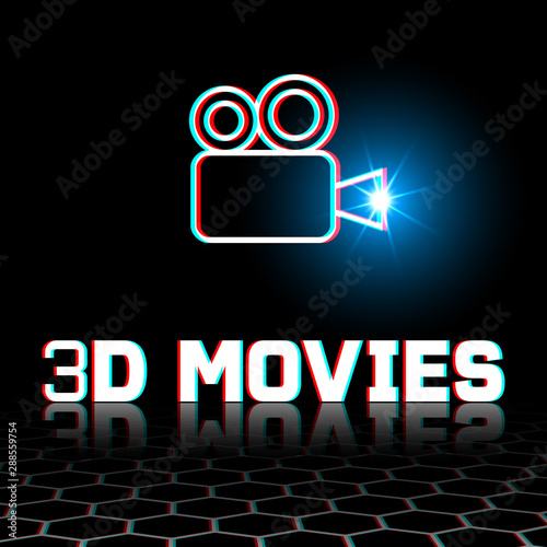 Movie camera. 3d anaglyph motion picture concept Canvas Print