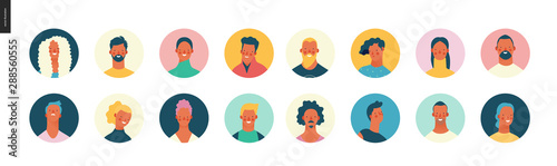 Obraz Bright people portraits set - hand drawn flat style vector design concept illustration of young men and women, male and female faces avatars. Flat style vector round icons set - fototapety do salonu