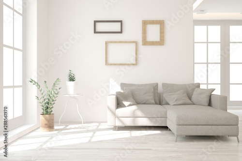 obraz dibond Stylish room in white color with sofa. Scandinavian interior design. 3D illustration