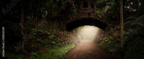 Alte steinernde Brücke im Dschungel