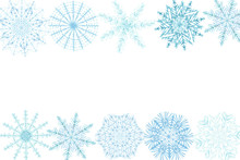 Watercolor Hand Painted Nature Winter Frozen Border Banner Frame With Different Blue Snowflakes Isolated On The White Background For Invitations And Greeting Cards With The Space For Text