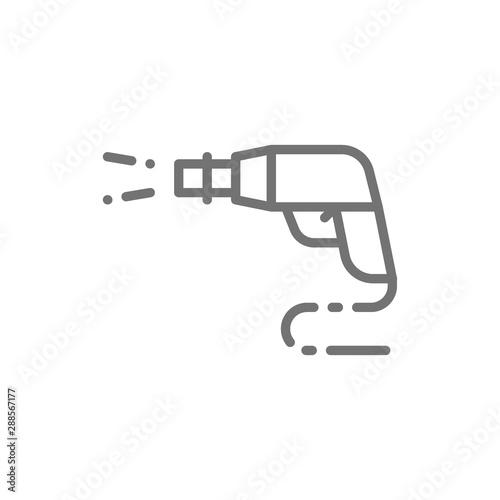 High pressure car wash spray gun line icon. Tableau sur Toile