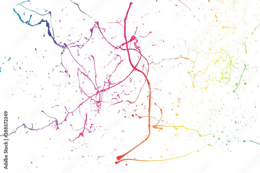 Fototapety, obrazy: Colored paint splashes isolated on white background.