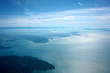 Vancouver,Canada-August 28, 2019: Aerial view of Strait of Georgia, Burrard Inlet and Vancouver in the morning