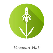Mexican Hat Wild Flower Green Flat Design Long Shadow Glyph Icon. Upright Prairie Coneflower With Name. Ratibida Columnifera Plant. Blooming Wildflower. Spring Blossom. Vector Silhouette Illustration