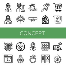 Set Of Concept Icons Such As E...