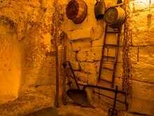 View Of The Interior Of The Historical Home Cave (Italian: Storica Casa Grotta). In Matera, Italy