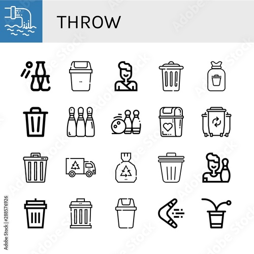 Fototapety, obrazy: Set of throw icons such as Waste, Bottle throw, Bin, Judo, Trash, Rubbish, Bowling, Bowling pins, Garbage, Trash bin, Garbage bin, Boomerang, Beer pong , throw