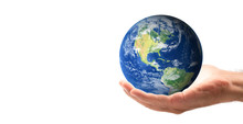 Male Hand Holding The World In...