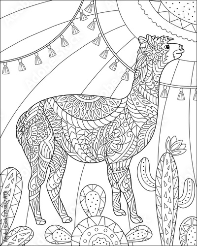 alpaca and cactus floral coloring page for adult and children black and white vector illustration for coloring book design buy this stock vector and explore similar vectors at adobe stock alpaca and cactus floral coloring page