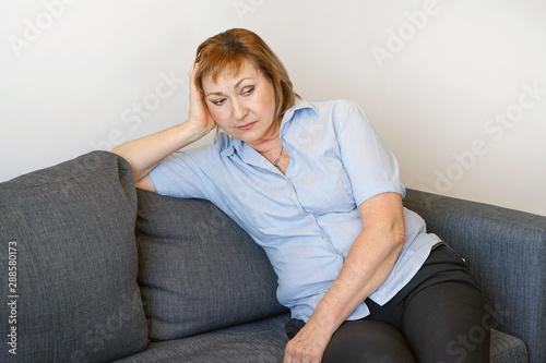 Vászonkép Portrait elderly woman depression or domestic violence