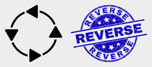 Vector CCW Circulation Arrows Icon And Reverse Seal Stamp. Red Round Scratched Seal Stamp With Reverse Text. Vector Combination In Flat Style. Black Isolated CCW Circulation Arrows Pictogram.