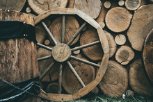 Wooden Wheel On Wood Rustic Ba...