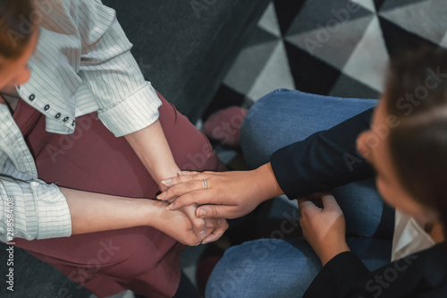 Fototapeta Psychologist session, close up on hands of doctor and patient, mental health, support and counseling concept obraz