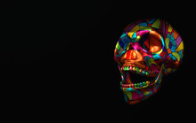 Human Scull 3d Rendering. Colorful Laughing Death's-head  On Black Background