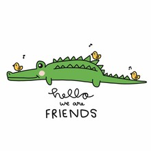 Hello We Are Friends, Crocodile With Little Birds Cartoon Vector Illustration Doodle Style