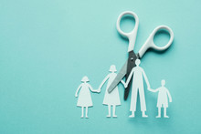 White Scissor Cutting Family Paper Cut Out On Blue Background, Causes And Effects On Child Development And Behavior Of Dysfunctional Family, Divorce Broken Home , Social Distancingconcept