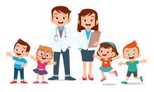 Happy Kids With Doctor Smile Illustration