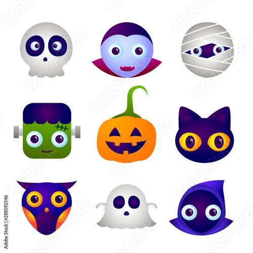 Fototapeta  Halloween characters icon set, Cute of Happy Halloween icon set.