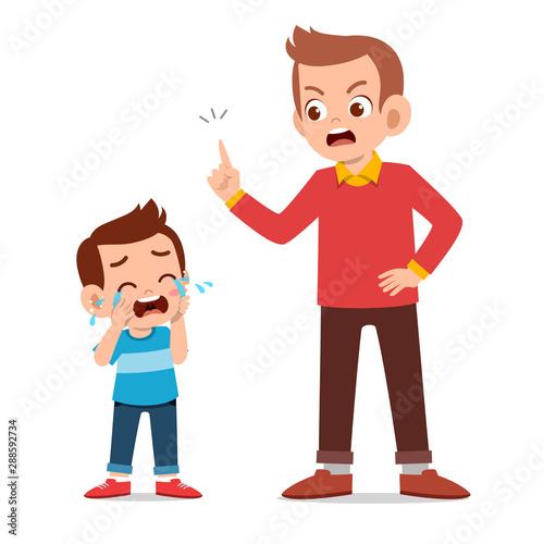 parent with kid child cry illustration Fototapeta