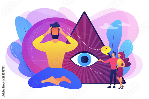 Obraz Enlightenment and future prediction metaphor. Clairvoyance ability, clairvoyant psychic services, spiritual angelic and psychic help concept. Bright vibrant violet vector isolated illustration - fototapety do salonu