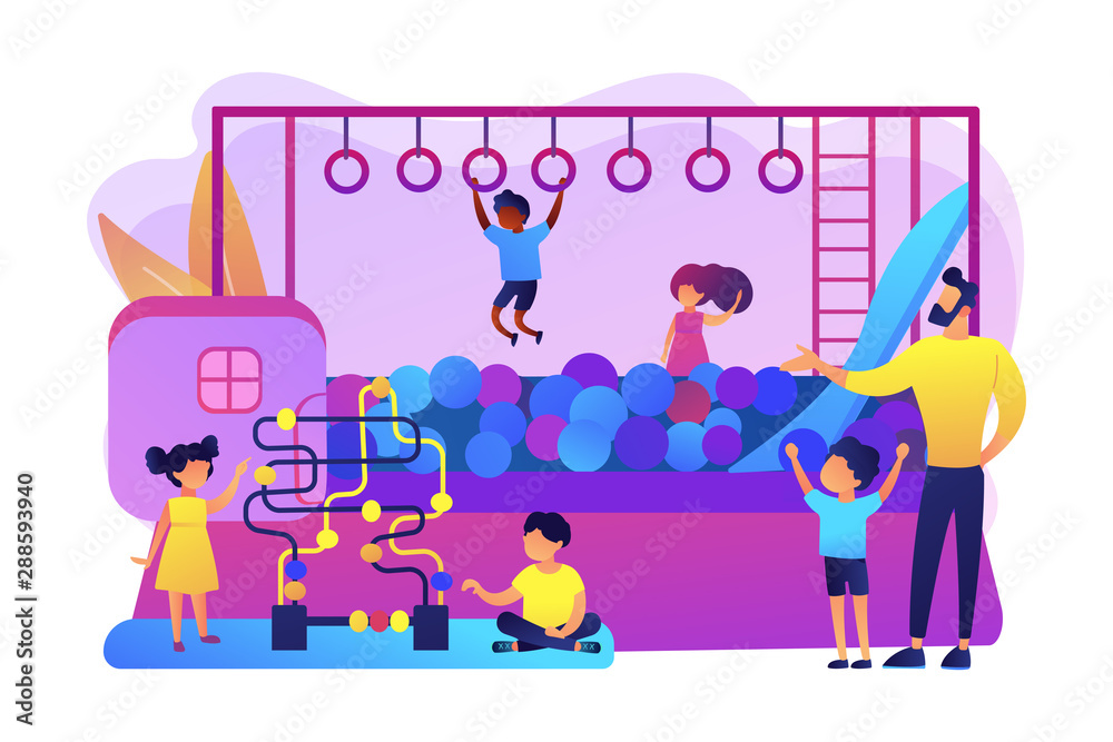 Fototapeta Children nursery, day care center. Active childhood recreation. Playroom for kids, best Indoor playgrounds, all in one indoor activity concept. Bright vibrant violet vector isolated illustration