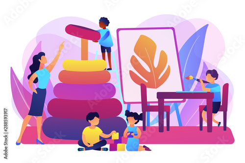 Day care center, kindergarten pupils and tutor. Primary education. Nursery school, high quality preschool program, private nursery near you concept. Bright vibrant violet vector isolated illustration